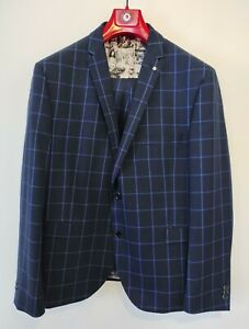 Lambretta Navy Check Slim Fit 3 Piece Suit Size 46/40S Jacket Waistcoat Trouser