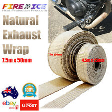 Exhaust Wrap Motorbike Motorcycle Bike Natural Tan 7.5m x 50mm Harley Heat Wrap