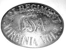 1864 1ST Regiment Virginia Volunteers C.S.A. Civil War Breast or Box Plate