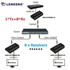 1 Sender 8 Receivers 120m HDMI Network Extender Over Ethernet LAN RJ45 CAT5E/6