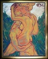 Felix Pfefferkorn *1945: Liebespaar 100 x 80 cm Gemälde junge Liebende Lovers
