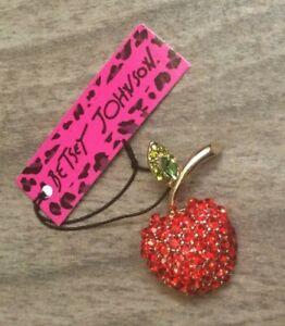 Betsy Johnson Sparkling Crystal Red Apple Brooch Pin New Beauty!