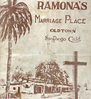 Vintage 1920s The Story Ramona's Marriage Place Old Town Brochure San Diego CA