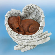Love Never Furr-Gets DACSHUND Leave Paw Prints DOG in Angel Wings Figurine NEW