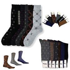 6 Pairs Mens Dress Socks Multi Color Print Casual Work Size 10-13 Fashion Crew