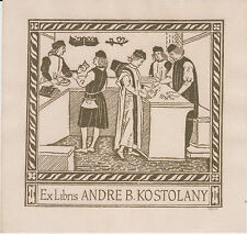 EX-LIBRIS ANDRÉ B. KOSTOLANY (1906-1999), GRAVÉ PAR MAQUET.