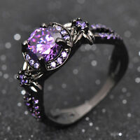 Vintage Round Purple Amethyst Wedding Band Ring 10KT Black Gold Filled Size 5-11