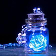 Magic Halskette Wunsch Flasche leuchtend Blumen Anhänger Kette Luminous Geschenk