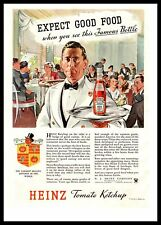 1935 Heinz Tomato Ketchup Bottle Waiter Black Tie Dinner Party Color Print Ad