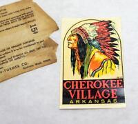Rare Vintage Cherokee Village Arkansas Souvenir Travel Decal