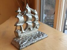 Vintage Cast Iron Bookend Uss Constitution Us Navy Ship Old Ironsides Silver Tn.