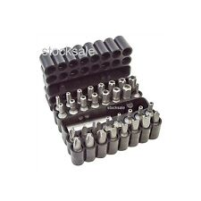 33pc Security Power Bit Set Screwdriver Tool Torx Pozi Star 60mm Magnetic Holder
