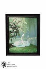 Oil on Canvas Painting Landscape Pond Lake Two Swans Under Tree White Flowers