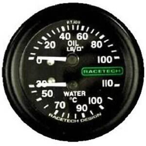 """Racetech Oil Pressure/Water Temp Gauge Backlit 1/8"""" BSP Nipple Fitting 12ft Pipe"""