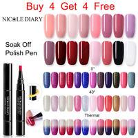 NICOLE DIARY 3 in 1 One step UV Gel Nail Polish Pen Top Base Coat 5ml Nail Art