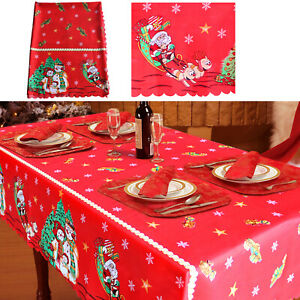 Large Christmas Table Cover Cloth Red Santa Claus Xmas Dinner Decoration 3 Sizes