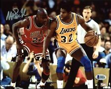 Lakers Magic Johnson Signed 8X10 Photo w/ Michael Jordan BAS Witnessed 2