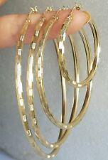 14k Yellow gold Hoop Earrings small medium large 3mm Diamond cut
