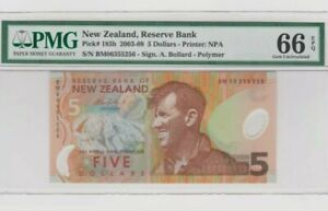2003 -09 New Zealand 5 Dollars PMG66 EPQ GEM UNC @ P-185b 'Polymer'