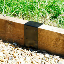 8x4 Timber Railway Sleeper Planter Path Edge Front Joining Plate Bracket - Black
