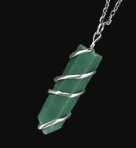 Green Jade Stone Wire Wrap Spiral Pendant Point Chakra Crystal Necklace CHARGED