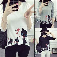Fashion Women Cute Cartoon Cat Print Blouse Long Sleeve T Shirt Casual Tops TeDS