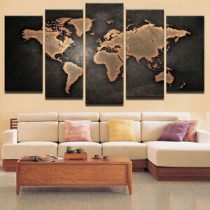 World Map Painting 5 Piece Canvas Print Wall Art Pictures