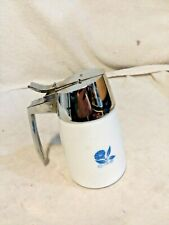 Small Syrup Dispenser-Dispenser Inc.-White Milk Glass With Blue Flowers
