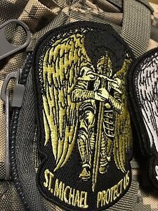 ST. MICHAEL PROTECT US Tactical Army ISAF GOLD PATCH Wings Sword hook