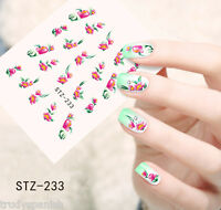 Nail Art Water Decals Wraps Pink Green Summer Flowers Roses Gel Polish (233)