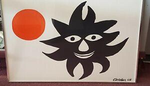 """Alexander Calder Lithograph """" Red Sun """" 1968 Signed & Framed"""