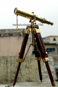 Vintage Solid Brass Telescope With Wooden Tripod Nautical Navy Ship Instrument
