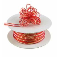 3mm 1/8 Organza Pull bow ribbon Red iridescent 50 yd