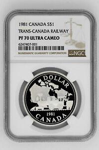 1981 Canada S$1 Silver Dollar Trans-Canada Railway NGC PF 70 Ultra Cameo
