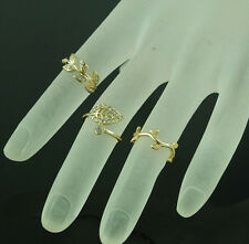 3PCS/Set Fashion Womens Silver Gold Rhinestone Leaf Above Knuckle Finger Rings