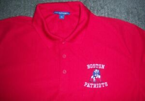 AUTHENTIC Stitched BOSTON PATRIOTS AFL Red THROWBACK Polo/Golf Shirt XL jersey l