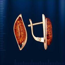 Rose Gold 14k/ 585 Baltik Amber Earrings 22 Х 7 Mm STUNNING 4.05g
