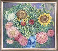 Sommer Impressionen Stillleben mit Sonnenblumen und Astern Malerin Ilse Steffen