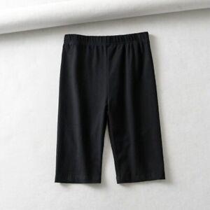 Women Cotton High Waist Elastic Pure Color Slim Knee-Length Bike Shorts Female