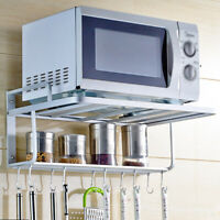 Microwave Oven Rack with hooks Kitchen Counter Space aluminum Wall Bracket Shelf