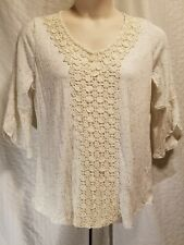 Style&co Woman Plus Size 1X Ivory Off White Crochet V-Neck 3/4 Sleeve Top Blouse