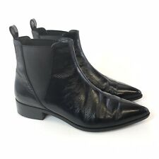 And & Other Stories 41 UK8 Black Patent Leather Ankle Chelsea Pull Pointed Boots