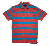 The North Face Mens Shirt Size Small Red Blue Striped Polo Pocket Short Sleeve