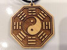 OM Ba gua Yin Yang Necklace carved wood pendant Spiritual Sacred #Gift #Unisex