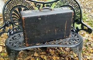 Vintage Black Leather Suitcase with Green Taffeta Lining