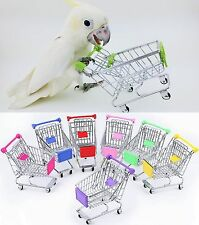 Mini Shopping Trolley Supermarket Cart Pet Play Toy Bird Parrot Intelligence SR