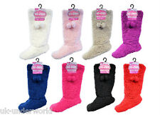 Ladies Slipper Boots Womens Plain Padded Sherpa Slippers With Pom Poms 4-6 / 6-8