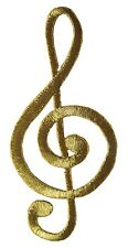 """#2404L 3-3/4"""" Embroidery Iron On Gold Musical Note Applique Patch"""