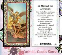 Saint St. Michael with St Michael's Prayer - Gold Trim - Paperstock Holy Card