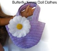 Lavender Straw Daisy Beach Bag 18 in Doll Clothes Accessory Fits American Girl